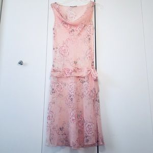 Pale Pink Floral Semi Sheer Slip on Midi Dress